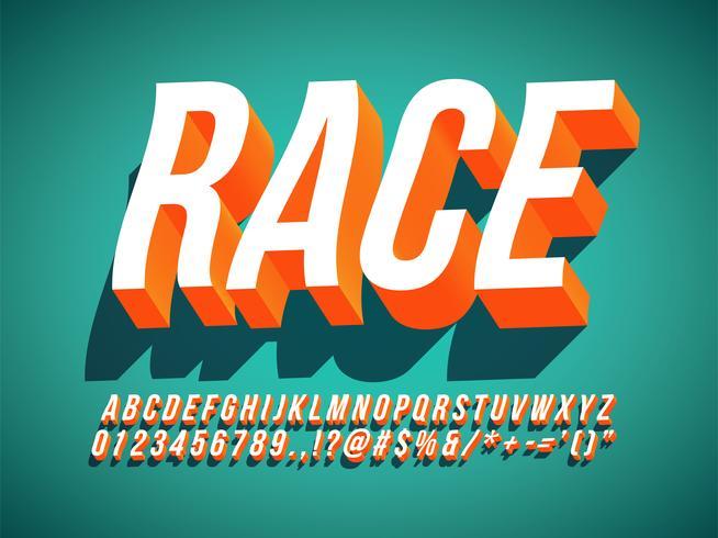 3D Kursiv Kondens Retro Text Effekt vektor