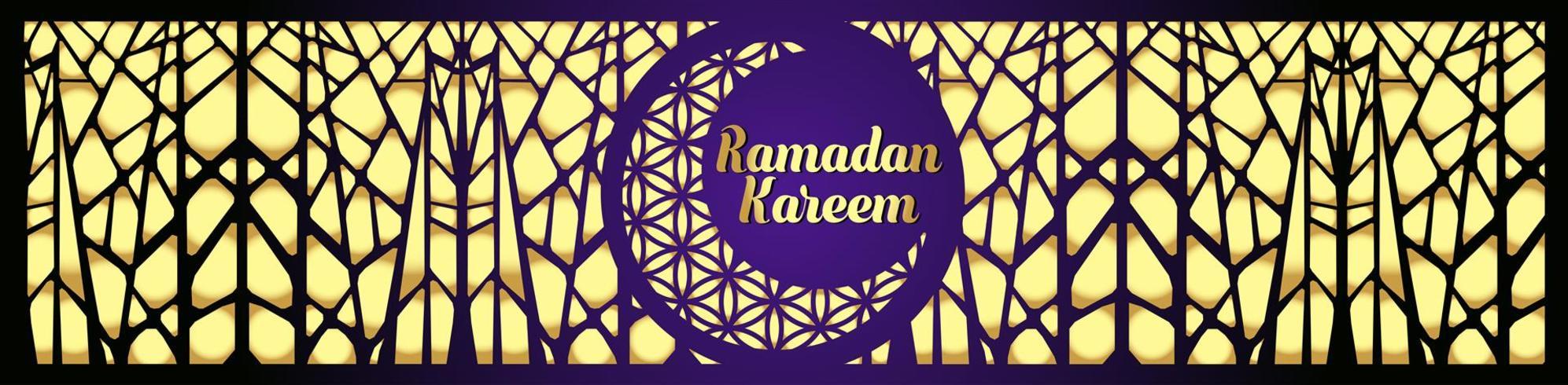 Ramadan Kareem islamisk hälsning design med lykta och kalligrafi. vektor