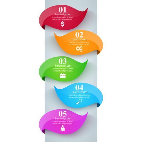 Fem gröna blad illustration. Business infographic. vektor