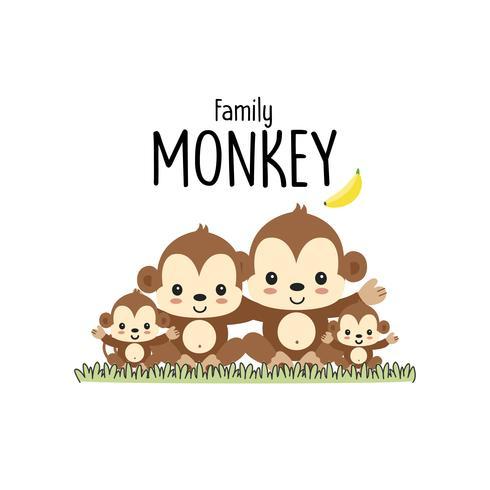 Monkey Family Father Mor och baby. vektor