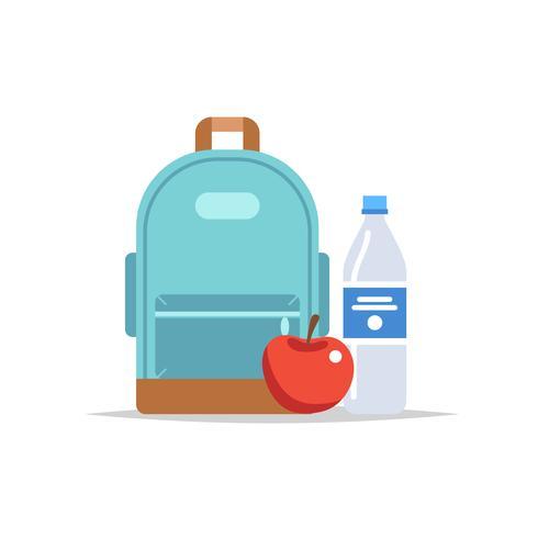 Lunchbox - ryggsäck med mat, vatten och ett äpple. Skolmåltid, barnens lunch. Vektor illustration i platt stil