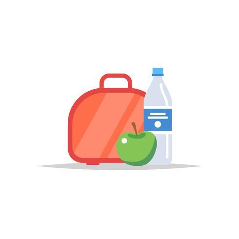 Lunchbox - Mahlzeitbehälter mit Wasser und einem Apfel. Schulmahlzeit, Mittagessen für Kinder. Vektor-Illustration im flachen Stil vektor