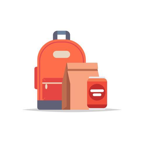 Lunchbox - Rucksack, Papiertüte mit einer Mahlzeit und eine Getränkedose. Schulmahlzeit, Mittagessen für Kinder. vektor
