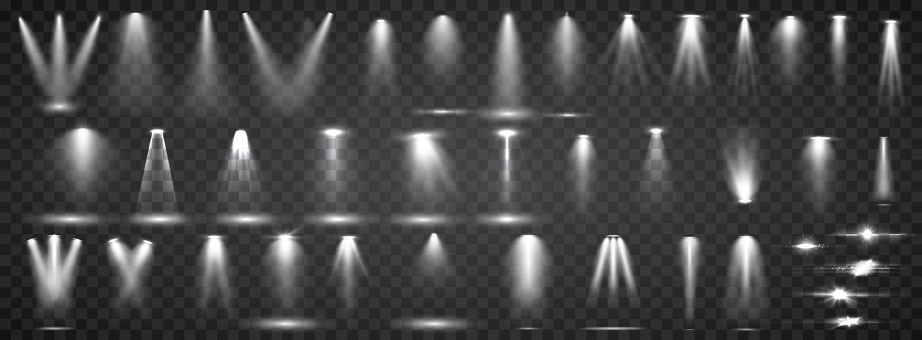 Szenenbeleuchtung Sammlung. Großes Set Helle Beleuchtung mit Scheinwerfern. Spotbeleuchtung der Bühne. vektor