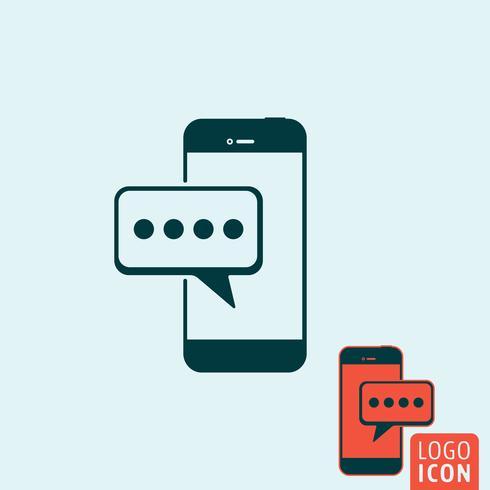 Mobilt meddelandeikon isolerat vektor