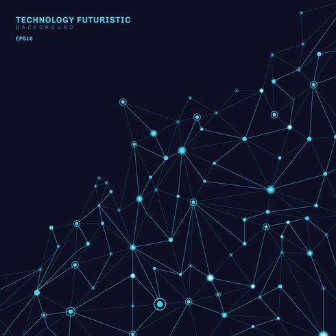 Abstrakte polygonale Formen auf dem dunkelblauen Hintergrund, der aus Linien und Punkten in Form von Planeten und Konstellationstechnologiekonzept besteht. Digitale Internetverbindung. vektor