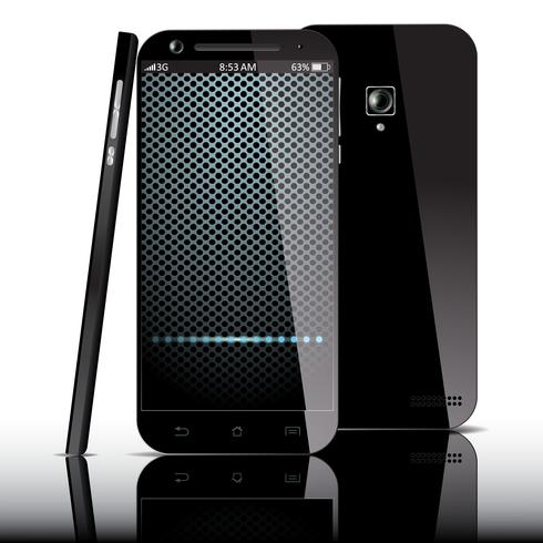 Realistisk svart smartphone vektor