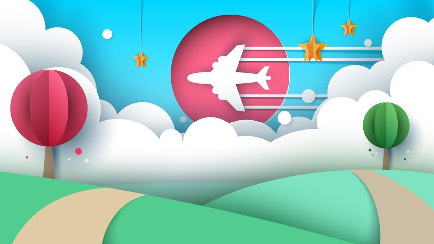 Papier Origami-Stil Flugreisen. vektor
