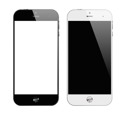 Realistiska svartvita smartphones vektor
