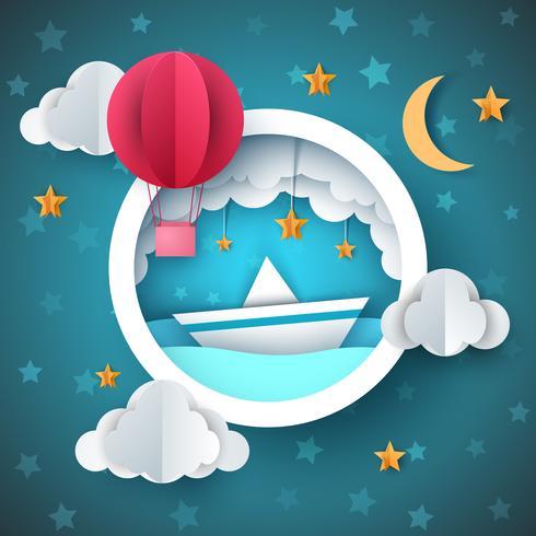 Luftballon, Schiffsillustration. Cartoon Seelandschaft. vektor