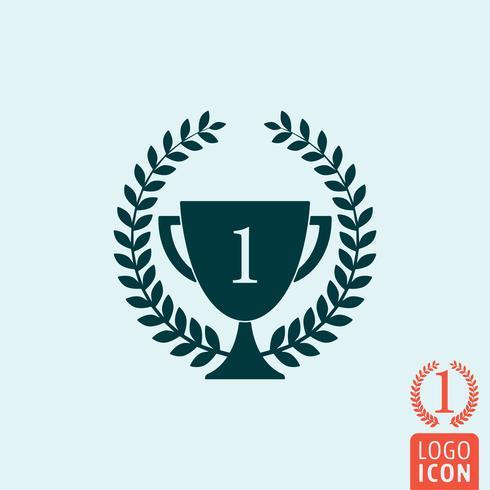 Trophy laurel krans ikon vektor