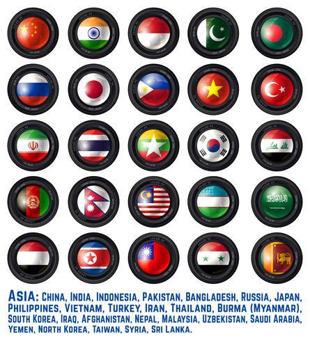 Flaggor asiatiska vektor