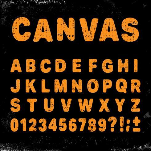 Canvas alfabet typsnitt vektor