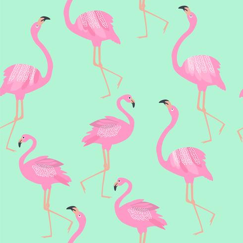 Flamingo sömlösa mönster på mintgrön bakgrund. vektor