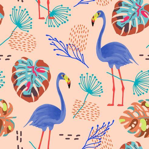 Tropiskt sömlöst mönster med flamingos och exotiska blad. vektor