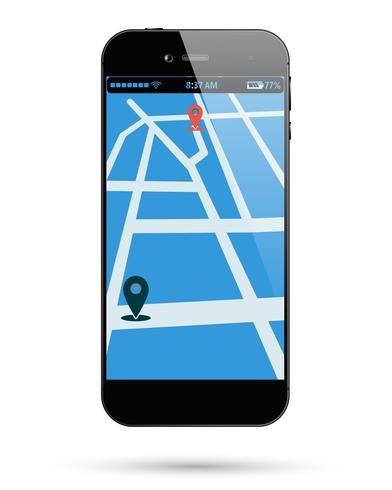 Smartphone karta plats vektor