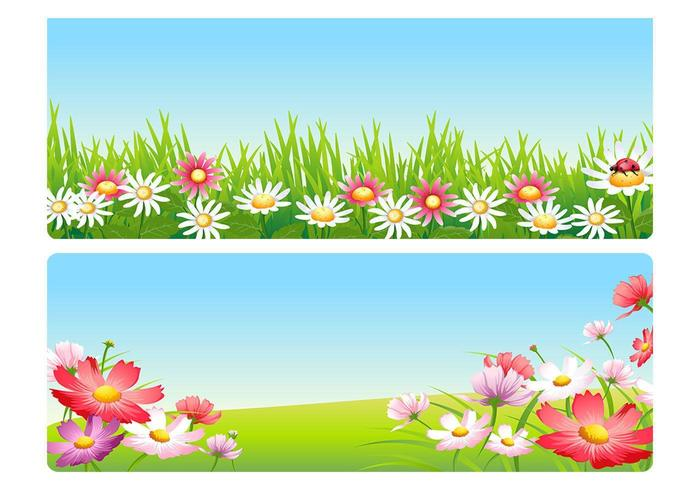 Rosa Frühlingsblumen-Landschaftsvektor-Satz vektor