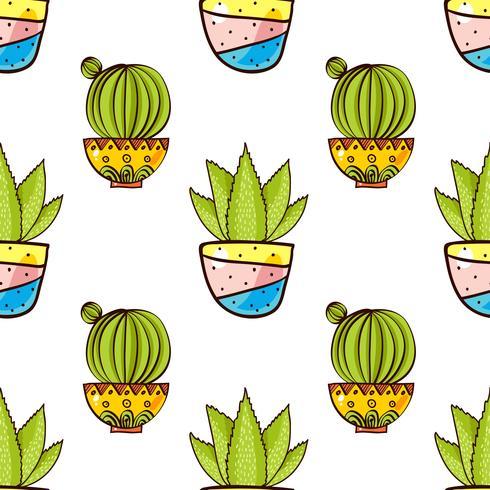 Seamless mönster av kaktusar och succulenter i krukor. vektor