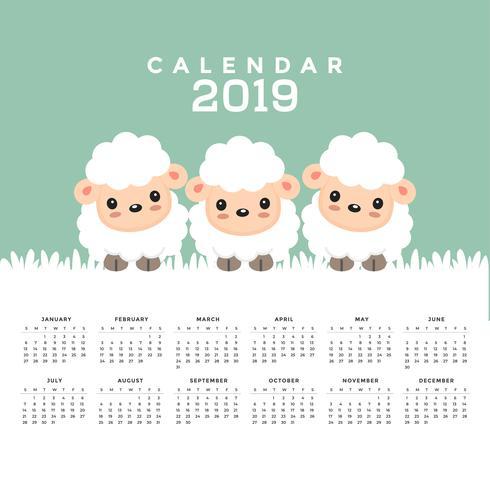 Kalender 2019 mit niedlichem Schaf-Cartoon. vektor