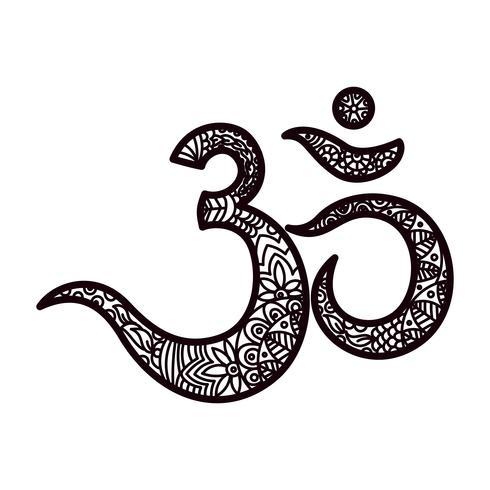 Om oder Aum Indischer heiliger Klang, originelles Mantra, ein Wort der Macht. vektor