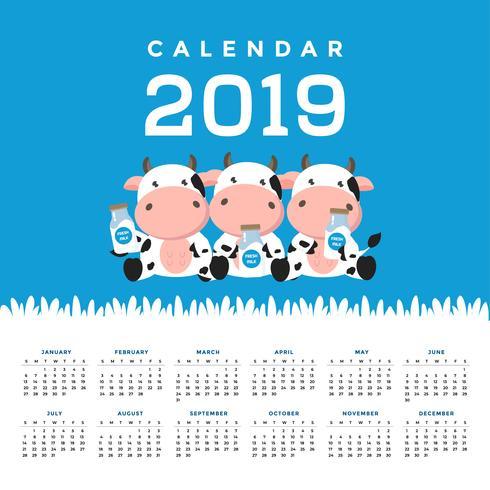 Kalender 2019 mit süßen Kühen. vektor
