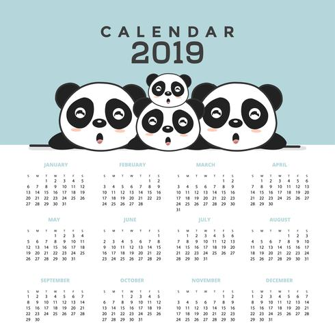 Kalender 2019 med söta pandaer. vektor