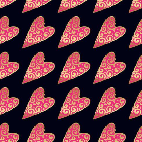 Nahtloses Vektorgoldmuster mit Herzen. Vektor-illustration vektor