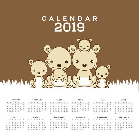 Kalender 2019 med söta känguruer. vektor