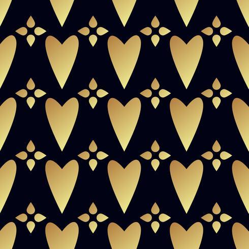 Seamless vektor guldmönster med hjärtan. Vektor illustration