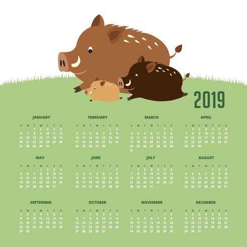 Kalender 2019 med söta vildsvin. vektor