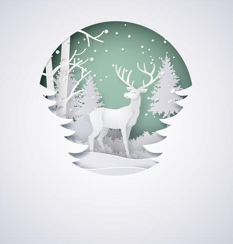 Hjort i skog vektor