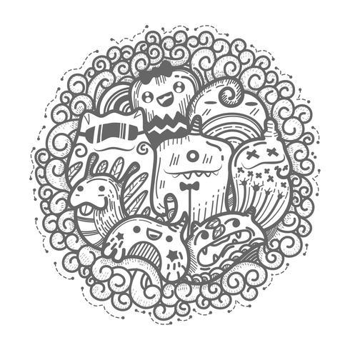 Söt monster doodles tecknad cirkel stil. vektor