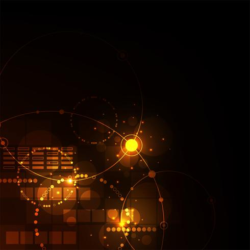Technologie im geometrischen Konzept auf einem dunkelorangen Hintergrund. vektor