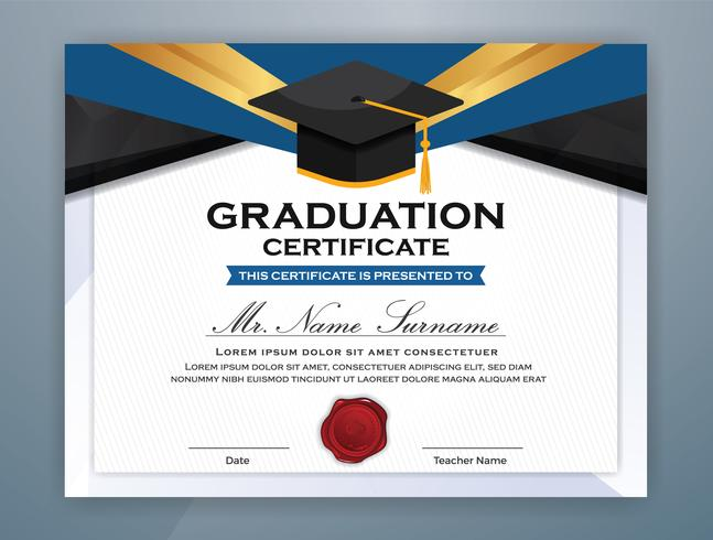 High School Diplom Zertifikat Template Design mit Diplom Kappe vektor