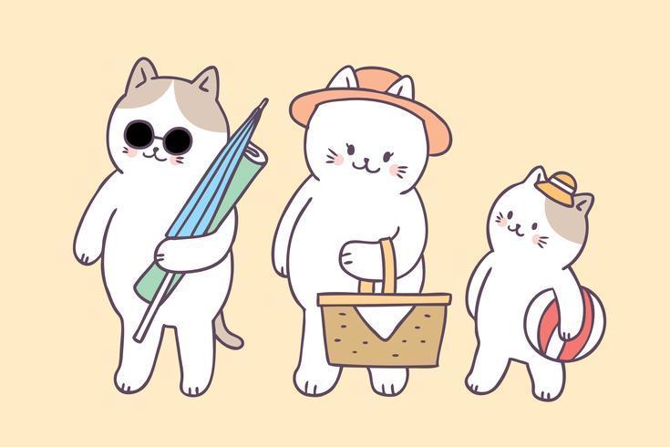 Tecknad gullig sommarfamilj katter picknick vektor. vektor