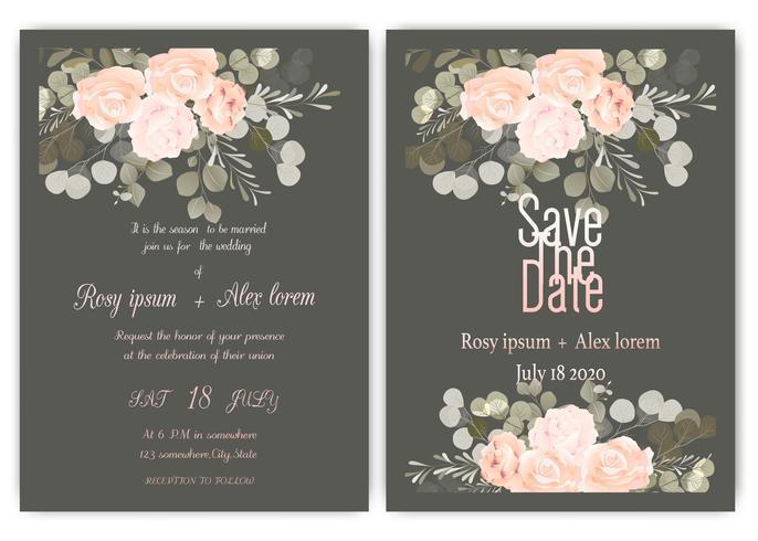 Greenery Bröllop Inbjudan, Mall Eucalyptus Bröllop Inbjudan. vektor