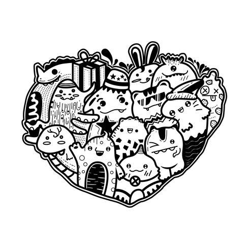 Söt monster doodle vektor för grattis på födelsedagskortet.