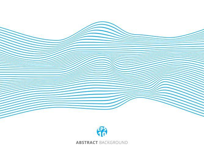 Abstrakt blå linjer vågmönster på vit bakgrund. vektor