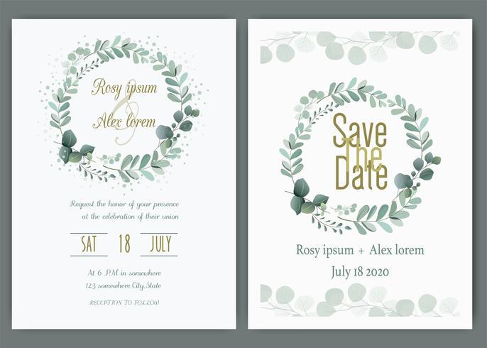 Grün-Hochzeits-Einladung, Schablonen-Eukalyptus-Hochzeits-Einladung. vektor