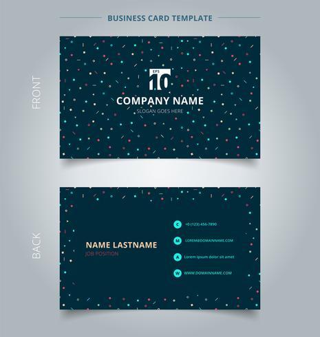 Kreativt visitkort och namnkortsmall Enkla geometriska trianglar, fyrkanter, cirklar färgglada på mörk bakgrund. vektor