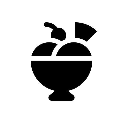Eiscremeeiscremebechervektor, feste Designikone der Bonbons vektor