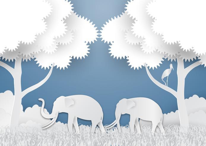 Papierkunstart der Landschaft mit Elefanten und Baum im Naturökologieideenzusammenfassungshintergrund, Vektorillustration vektor