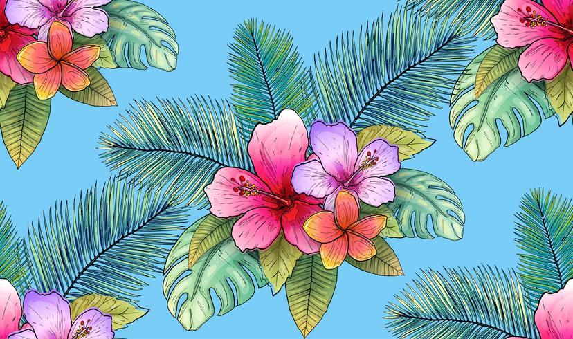 tropische nahtlose Mustervektorillustration des Blumen- und Blattes. vektor