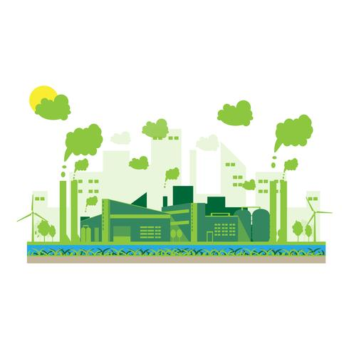Eco industrielle Fabrik in einem flachen Stil vektor