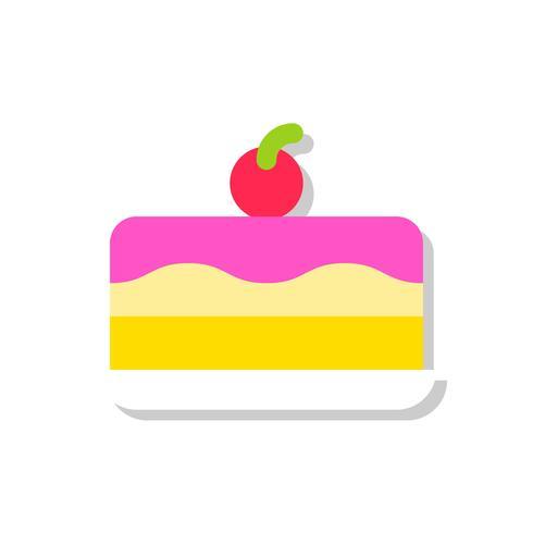 Glass tårta vektor illustration, sötsaker platt stil ikon