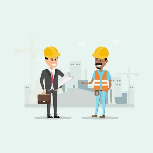 Architekt, Vorarbeiter, Ingenieur Bauarbeiter leiten ein Projekt auf der Baustelle vektor