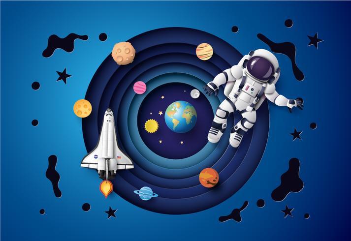 Astronaut flyter i stratosfären. vektor