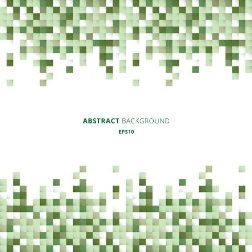 Abstrakter Kopf- und Fußzeilengeometrischer Muster-Pixelhintergrund der weißen und grünen Quadrate mit Kopienraum. Sie können für das Design für Print, Ad, Poster, Flyer, Cover, Broschüre, Vorlage verwenden. vektor
