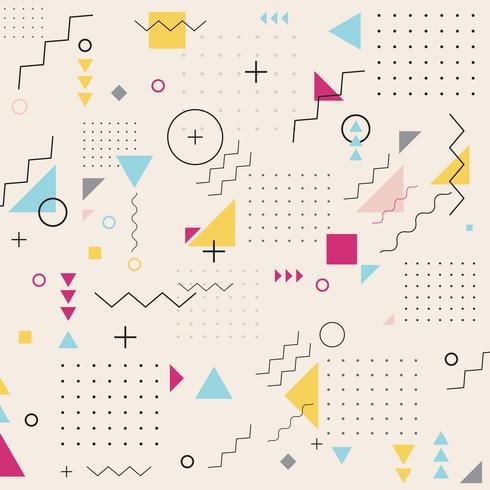 Gewellter Musterhintergrund des abstrakten geometrischen Dreieckquadratkreises. Memphis. Retro-Mode-Stil. vektor