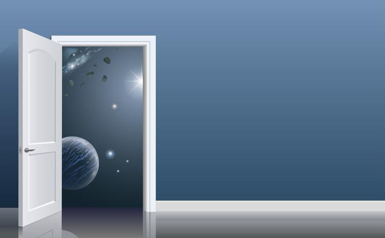 Öppna dörrarna i rymden. Rum på rymdhotellet. Begrepp. Rymdresor vektor